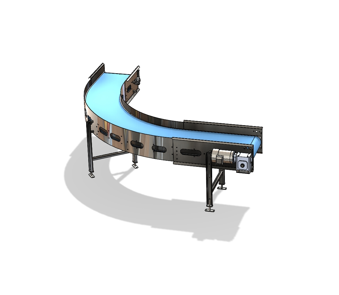 Stone custom radius conveyor food processing packaging