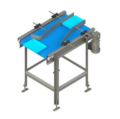 Tray turning conveyor for the food meat plants